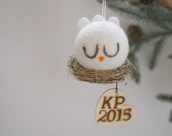 Customizable Christmas Ornament, White Peace Dove Bird Tree Decoration, Rustic, Needle Felted Natural Holiday Decor, Personalized