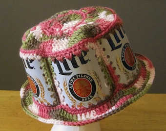 Crocheted Beer Can Hat - Miller Lite in Pink Camouflage