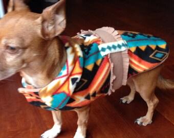 Small Fleece Dog Coat, Southwestern Print, Small Dog Coat, Belted and Collared Dog Coat, Warm and Cozy Fleece Dog Coat.