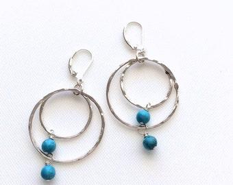 Turquoise Hoop Earrings, Silver Hoops, Turquoise Fine Silver Hoops, Hoop Earrings, Blue Turquoise Earrings