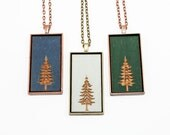 Fir Tree Pendant - Engraved Wooden Cameo Necklace Featuring Laser Cut Christmas Tree (Custom Made / Personalized) Stocking Stuffer