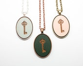 Key Pendant - Laser Engraved Wooden Oval Locksmith Cameo Necklace (Any Color - Custom Made) Gifts for Her