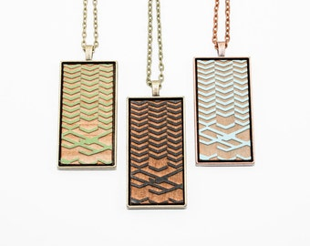 Geometric Chevron Pattern Pendant - Engraved Wooden Cameo (Custom Made / Personalized)