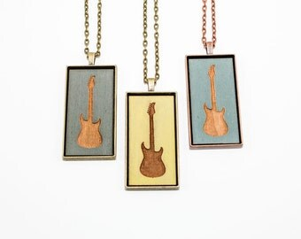 Electric Guitar Pendant - Engraved Wooden Cameo Necklace (Custom Made / Personalized)