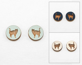 Cat Earrings - Laser Cut Wooden Studs (Choose Your Color)