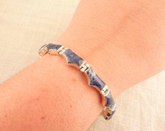 SALE --- Vintage Mexican Sterling and Sodalite Modernist Link Bracelet