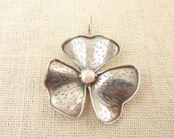 Large Vintage Sterling Three Petal Flower Pendant with Genuine Pearl Center