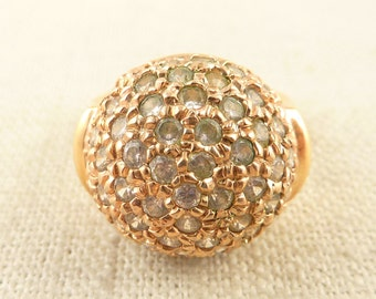 Size 9 Vintage Gold Tone Sterling Pink Cubic Zirconia Globe Ring