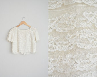Size S/M // LACE TIERED BLOUSE // Cropped - Short Sleeve - Button-Back Top - Square Neckline - Vintage '50s Cari-Louise.