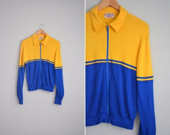 vintage men's '70s yellow & blue ITALIAN TRACK JACKET. size xs.
