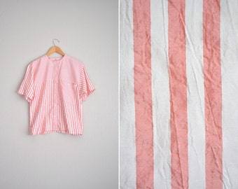 vintage '80s PINK & white STRIPED short sleeve OVERSIZED button-up blouse. size m l.