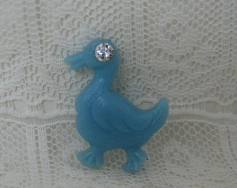 1940's Vintage Blue Plastic Duck Button with Rhinestone Eyes