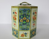 Lovely Floral Octagon Tin
