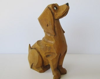 Sweet Little Wood Carved Dog