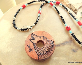 Wolf Pendant, Cherokee Language, Cedar Pendant Necklace, Red and Black, Handcrafted Jewelry, Native Style, Red Coral and Seed Bead Necklace