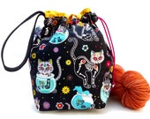 Sock Knitting Project Bag Hexipuff Small Crochet WIP Bag - Day Of The Dead Kitties