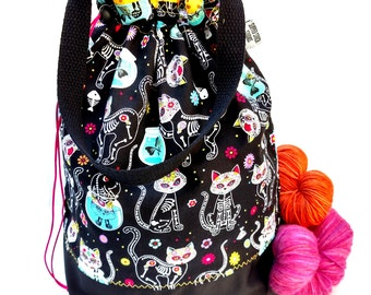 Large Knitting Project Bag Crochet Drawstring Tote WIP Bag - Day Of The Dead Kitties