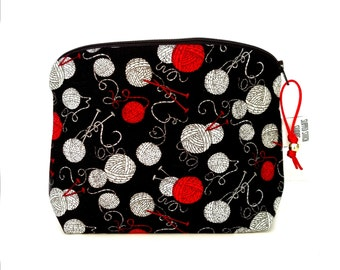 Zippered NOTIONS BAG with zipper pull -  Black Yarn Balls