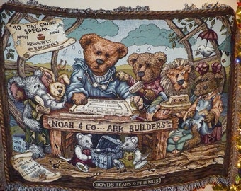 Boyds Bears and Friends Afghan - Limited Edition 1997 - Noah and Co. Ark Builders