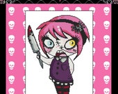 Quick Stitch Mini Cross Stitch Kit By Miss Cherry Martini, Deadly Girl, Tattoo Art Needlecraft with DMC Materials - No Background
