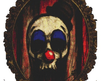 Modern Cross Stitch Kit By Shayne of the Dead 'Bozo' - Clown Needlecraft kit
