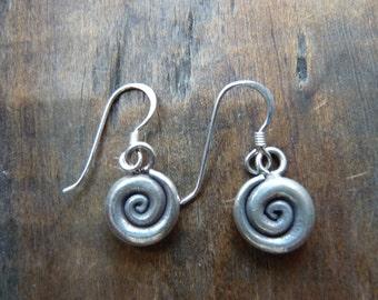 Hilltribe silver spiral earrings