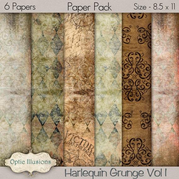 Harlequin Grunge - Digital Scrapbooking Paper -   8.5 X11 Size -  INSTANT DOWNLOAD -2.50