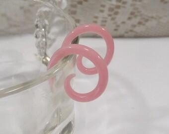 Glass spiral 8 gauge pink glass spiral 8g