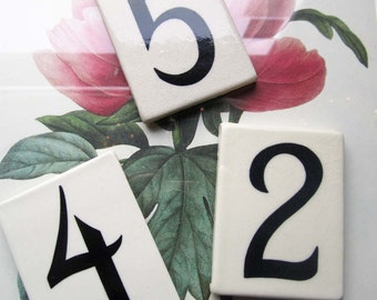 Vintage Tile Numbers 5 2 4 * Vintage Address Numbers * Small Tiles * Holiday Table Decor Ideas * Settings and Menu