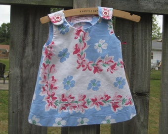 Tablecloth Dress in blue, pink and fuchsia