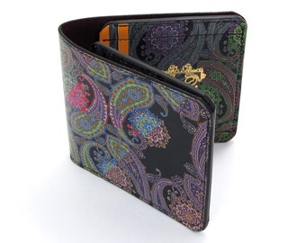 Leather Wallet /  Men's Leather Wallet  / Leather Card case  - Hacked Paisley No.2