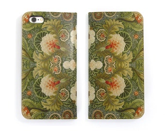 Leather iPhone 6 case, Galaxy S6 Case, iPhone 6s Case, iPhone 6s Plus Case, iPhone 5/5s Case - Floral Embroidery (Exclusive Range)