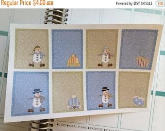 SALE Planner Stickers Full Boxes Snowmen Winter Planner Stickers