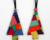 Rescued Wool Ornaments - Patchwork Sweater Trees - Set of Two - recycled wool by alicia todd