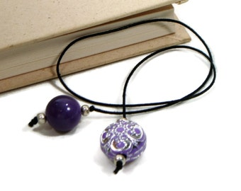 Beaded Bookmark Purple Silver Book Book Thong Cord String Bookmark Gift under 5 Book Club Teacher Gift