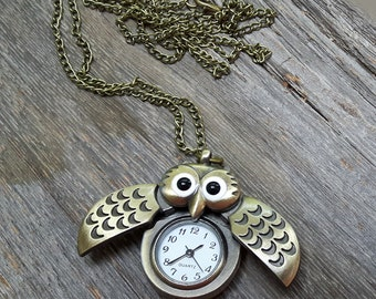 Owl Watch Necklace / Retro / Pocket Watch / Owl Watch / Owl Necklace
