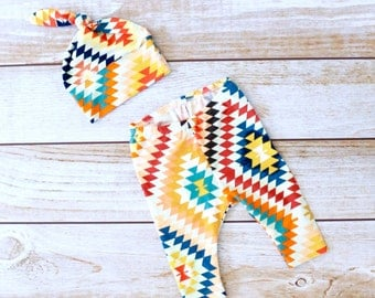 Designer Baby Pants and Hat Set - Newborn Baby Gift - Newborn Outfit - Tribal Print Baby Set - Aztec Print Baby - Zaaberry -Made to Order