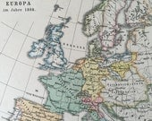 1896 German Antique Map of Europe in 1808 - Historical European Map