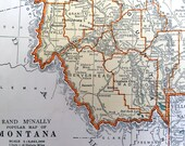1937 Vintage Map of Montana - Old Montana Map
