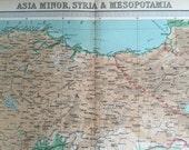 1922 Large Antique Map of Asia Minor, Syria, and Mesopotamia