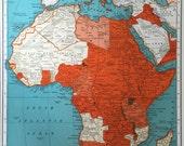 1941 Vintage Map of Africa during World War II