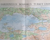1958 Vintage Map of Dardanelles - Bosphorus - Turkey East - With Inset of Istanbul (Constantinople)