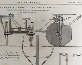 1878 English Antique Print of a Hedge-cutting Machine - Old Engineering Drawing