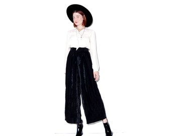 insane BLACK VELVET palazzo Pants xs // high waisted pants wide leg pants boho pants hippie pants black pants