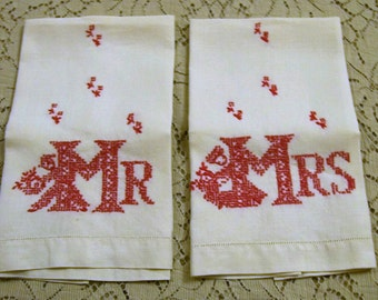 Mr. & Mrs. Towels, Embroidery, Vintage Mr. and Mrs. Towels, Linen Towels, Red and White, Vintage Wedding