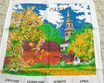 1972 Linen Calendar Towel, Church in the Woods, Red Barn, Kitchen Towel, Wall Hanging, Vintage Dish Towel, Vintage Kitchen, Vintage Linens
