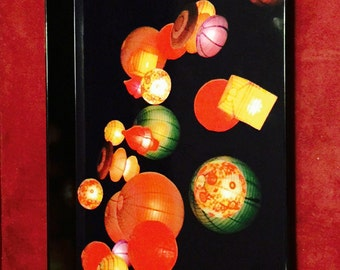 Black Melamine / Chinese Lantern Breakfast Tray/ Housewarming/ Original Photograph