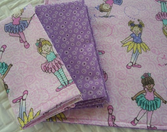 Girls Lunchbox Set, Sparkly Ballerina, Lunchbox Placemat and Napkins, School Placemat, Girls Placemat,
