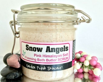 Pink Himalayan Salt Foaming Bath Butter Scrub in Snow Angels | Moisturizing One Step Cleansing | Vegan | Spa Formula | No Sulfates - 11 oz