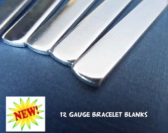 """3/8"""" x 6"""" - 10 Blanks 12 GAUGE Metal Stamping Cuff Blank Tumbled Polished - Pure 1100 Aluminum Bracelet Blank - Flat - Made in USA"""